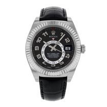 Rolex SKY-DWELLER 18K White Gold Leather Strap Watch 326139