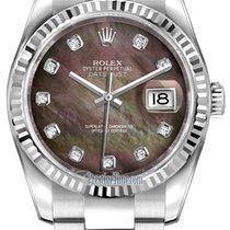 Rolex Datejust 36mm Stainless Steel 116234 Black MOP Diamond...