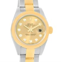 Rolex Datejust Steel 18k Yellow Gold Diamond Ladies Watch 179163