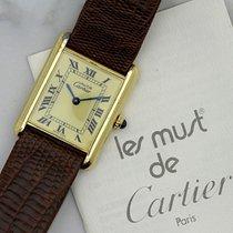 Cartier Must De Sterling Silver Gold Vermeil Tank Mechanical WInd