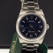 Rolex Oyster Perpetual 36mm No Date Steel Domed Bezel Blue...