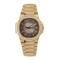 Patek Philippe Nautilus Ladies Rose Gold 32mm Diamond Bezel...