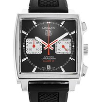TAG Heuer Steel Automatic Black 39mm pre-owned Monaco Calibre 12