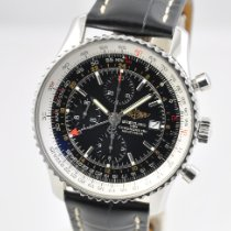 Breitling Navitimer World pre-owned 46mm Black Chronograph Date GMT Leather