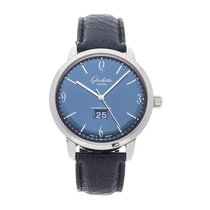 Glashütte Original Sixties Panorama Date pre-owned 42mm Blue Date Crocodile skin
