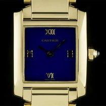 Cartier 18k Yellow Gold Rare Blue Enamel Dial Tank Francaise...