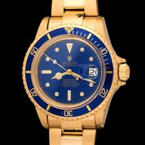 Rolex vintage Submariner 1680/8 in 18kt gold, blue dial