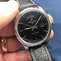 Breitling Transocean Day & Date pre-owned 43mm Black Date Leather