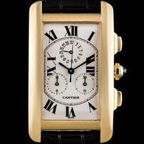 Cartier 18k Yellow Gold Silver Roman Dial Tank Americaine...
