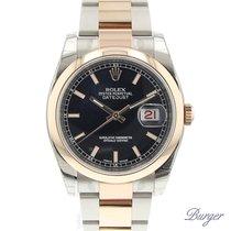 Rolex Datejust 36 Rolesor Everose Domed / Oyster / Black NEW