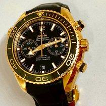 Omega Seamaster Planet Ocean Chronograph Ouro rosa 45.5mm Preto Sem números