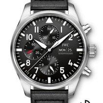 IWC Fliegeruhr Chronograph Stahl 43mm Schwarz Arabisch