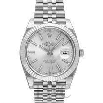 Rolex White gold Automatic Silver 41mm new Datejust