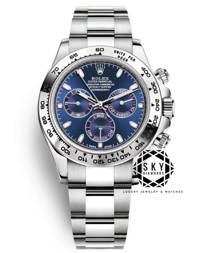 Rolex Daytona 40mm 18K White Gold Blue Dial 116509