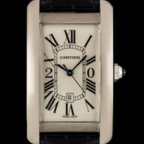 Cartier 18k White Gold Silver Guilloche Dial Tank Americaine...
