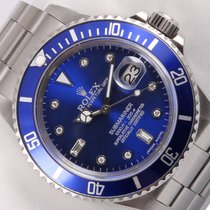 Rolex Blue Submariner 16610 Watch 40mm Oyster Stainless...