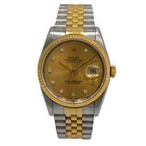Rolex Datejust S/G Champagne Factory Diamond Dial