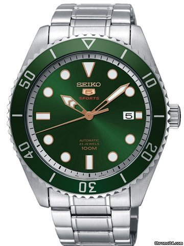 Seiko 5 Sports Green Sunray Dial Stainless Steel