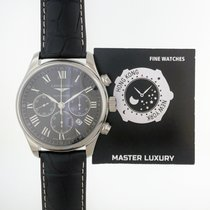 Longines L28594517 Master Chronograph Black Dial Steel&Leather