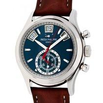 Patek Philippe Annual Calendar Chronograph Or blanc 40mm Bleu Sans chiffres