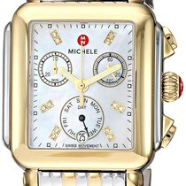 Michele Steel 33mm Quartz Michele Deco MOP Diamond Dial Two-Tone Steel Ladies Watch new