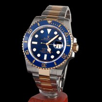Rolex oyster perpetual date submariner steel and gold blue...