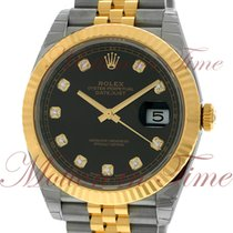 Rolex Datejust 41mm, Black Diamond Dial, 18kt Yellow Gold...