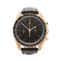 Omega Rose gold Manual winding Black 42mm pre-owned Speedmaster Professional Moonwatch