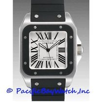 Cartier Santos 100 pre-owned 38mm Silver Rubber