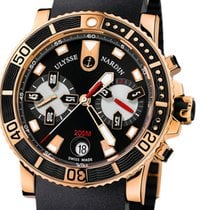 Ulysse Nardin Rose gold Automatic Black No numerals 42mm pre-owned Maxi Marine Diver