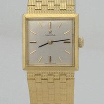 Omega Ladies Omega 18k Solid Yellow Gold Mesh Silver Square...