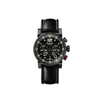 Hanhart Primus Pilot 44mm Black Dial Black Leather Strap
