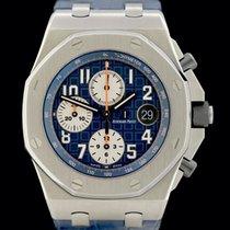 Audemars Piguet Royal Oak Offshore Chronograph occasion 42mm Bleu Chronographe Date Tachymètre Cuir de crocodile