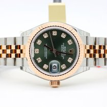 Rolex Lady-Datejust 28mm Everose Jubilee Diamond Olive Green RA