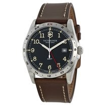 Victorinox Swiss Army Infantry GMT Black Dial Brown Leather...