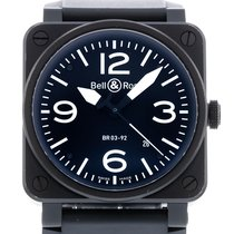 Bell & Ross Aviation Matte Black BR03-92 Watch with Rubber...