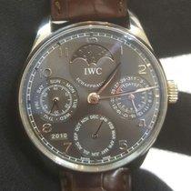 IWC Złoto białe Automatyczny Szary Arabskie 42.3mm używany Portuguese Perpetual Calendar