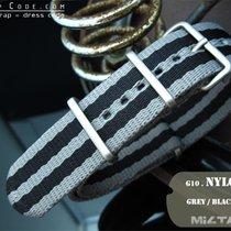 MiLTAT Thick 21mm NATO Watch Strap, Grey & Black, B