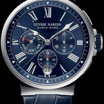Ulysse Nardin Marine Chronograph 1533-150/43 Ulysse Nardin Cronografo Acciaio Pelle Blu 43mm new