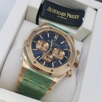 Audemars Piguet Royal Oak Chronograph Or rose 41mm Bleu Sans chiffres