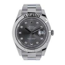 Rolex Datejust II 41mm 18K White Gold Bezel Dark Diamond Dial