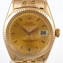Rolex 18kt Yellow Gold Vintage Datejust Champagne Pie Pan Dial