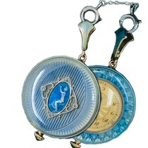 론진 1920s Longines platinum diamond enamel cameo pendant watch