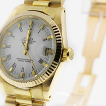 Rolex Datejust tweedehands 30mm Wit Datum Geelgoud