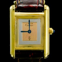 Cartier Tank Vermeil Silver 21mm Yellow No numerals