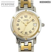 Hermès Clipper Gold/Stahl 24mm Weiß