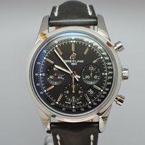 Breitling Stahl Automatik Schwarz 43mm neu Transocean Chronograph