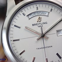 Breitling Men's Transocean Day & Date Steel on Leather Silver...