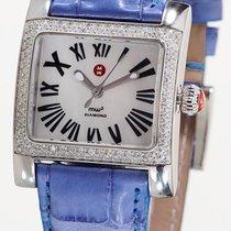 Michele mw2 Mini Diamond watch on a Blue leather strap