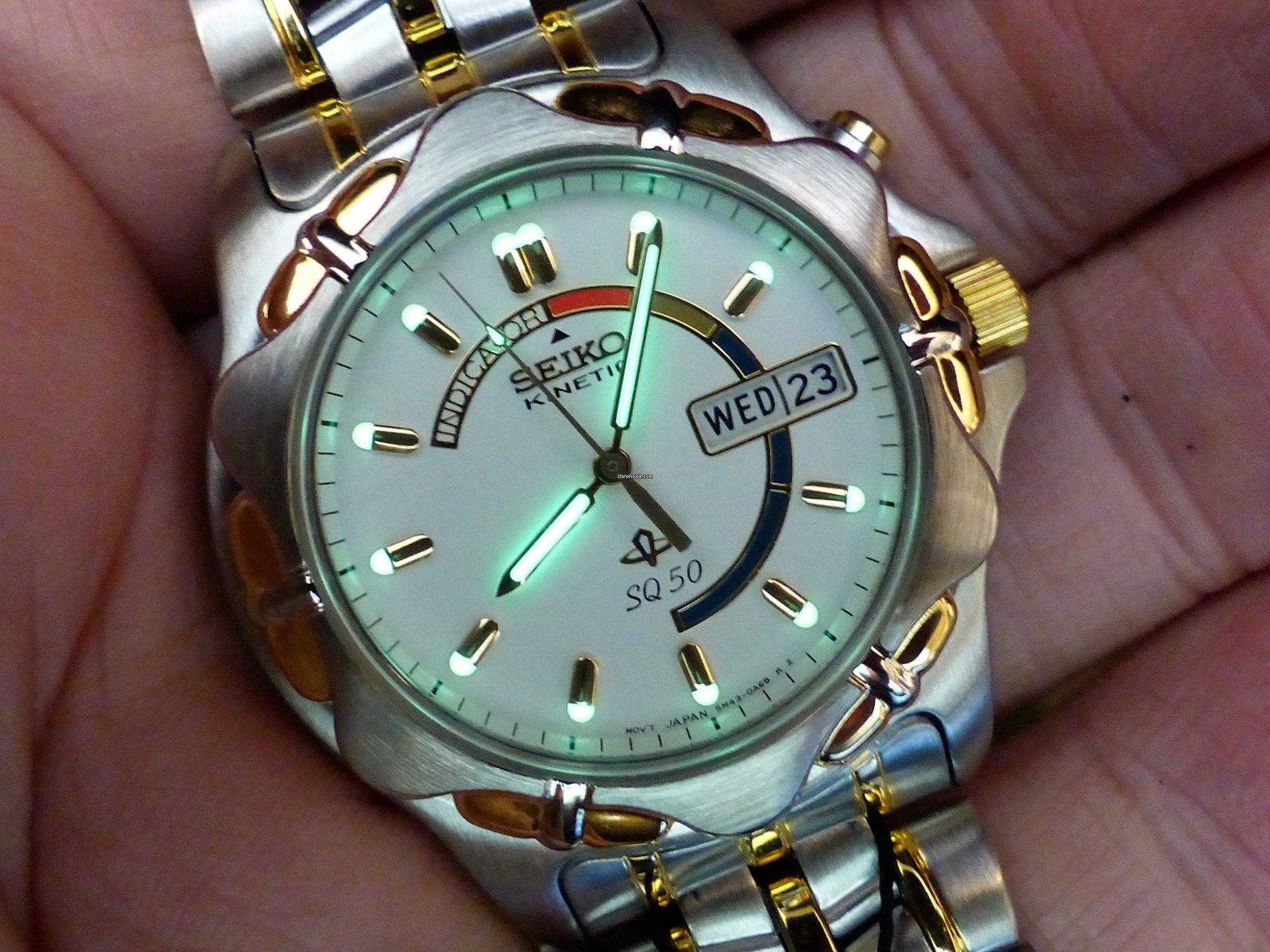 Seiko Kinetic SQ 50 5M43-0A50 Ref: SKJ022P1 Rare for $338